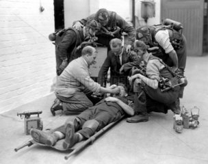 Reviving an injured miner with oxygen  Wales  23 June 1931.