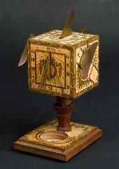 Universal cubical sundial  German  c 1780.
