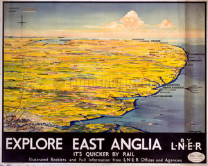 'Explore East Anglia'  LNER poster  1935.