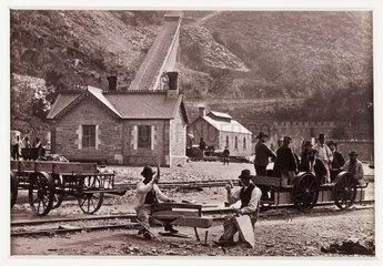 'Llanberis  Quarrymen and Velocipedes'  c 1880.