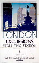 'London  Excursions from this station'  BR (SR) poster  1939.