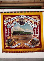 Banner for the National Union of Railwaymen  early 20th century.