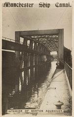 'Manchester Ship Canal  interior of Barton Aqueduct'  Manchester  1900s.