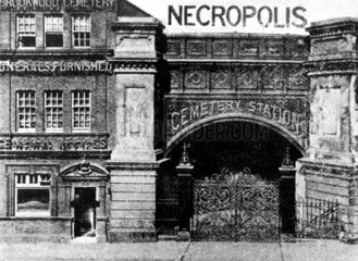 Entrance to the London Necropolis Company's Cemetery Station  c 1890s.