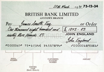Example of a computer-generated MICR cheque  c 1975.