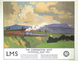 'The Coronation Scot Ascending Shap Fell'  LMS poster  1937.