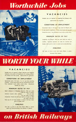 'Worthwhile Jobs on British Railways'  BR (LMR) poster  1951.