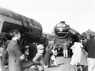 Railway exhibition at Ilford showing exhibits and spectators  2 June 1934.