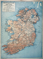 LM&SR railway map of Ireland and the Irish Sea  c 1930.