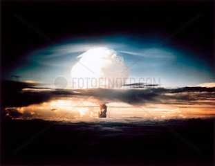 Mushroom cloud from the first test of a hydrogen bomb  1952.