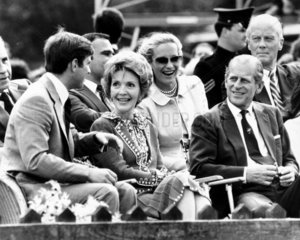 Nancy Reagan with the British royal family at a polo match  July 1981.