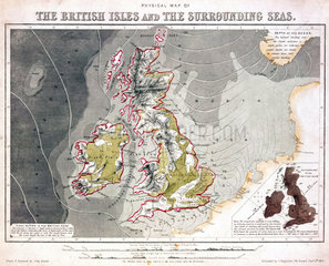 Physical map of the British Isles and the surrounding seas'  1851.