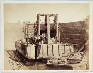 Dredger in dry dock for damage inspection  Leith  Scotland  c 1863.