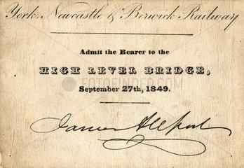 York  Newcastle and Berwick Railway ticket  27 September 1849.