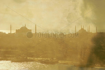 The Eminonu ferry docks seen from the Galata Tower  Istanbul  c 2004.