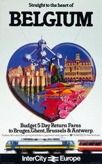 'Straight to the heart of Belgium'  British Rail poster  c 1980s.