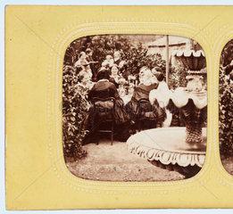 Garden party  c 1860.