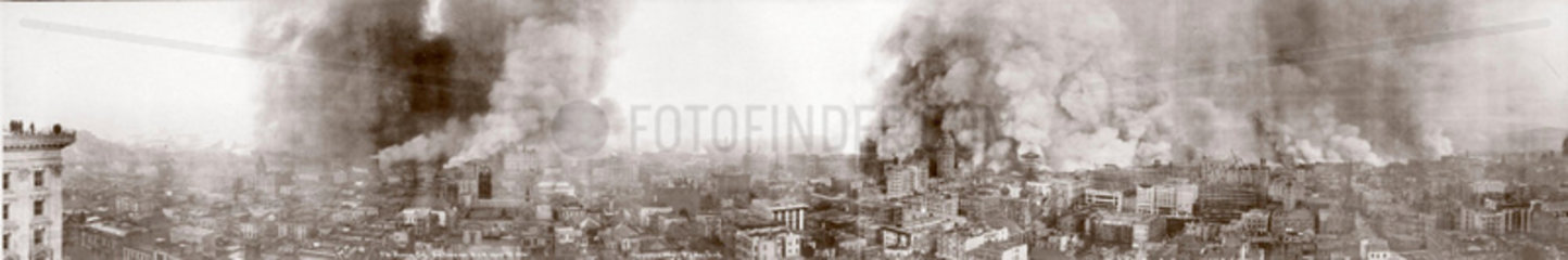 'The Burning City'  panoramic view of San Francisco  California  1906.