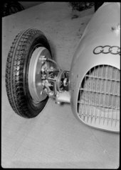 Suspension and wheel of Auto-Union V16 racing car  Germany  1930s.