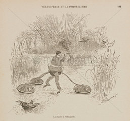 Duck-shooting by velocipede  1898.