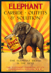 'Elephant Carbide  Outfits & Solutions'  poster  c 1930s.