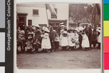 Children taking part in a procession  Whitby  North Yorkshire  c 1900s.