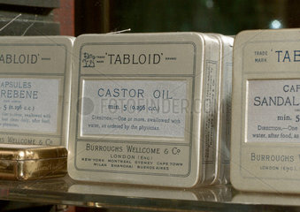 Tabloid caster oil capsules  late 19th early 20th century.