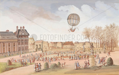 The first ascent in a hydrogen balloon  1 December 1783.