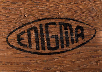 Detail of three-ring Enigma cypher machine in wooden case  c 1930s.
