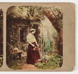 Woman watering plants  c 1870 .
