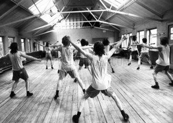 Detention centre for soccer hooligans  England  August 1974.