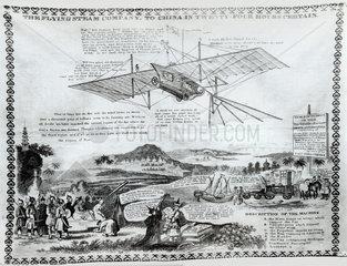 Handkerchief bearing impression of Henson's aeroplane design  1842.