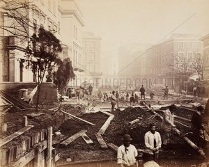 Construction of the Metropolitan District Railway  Craven Hill  London  c 1867.