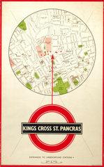 Kings Cross St Pancras  poster  c 1930s.