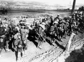 Australian soldiers marching to the front.