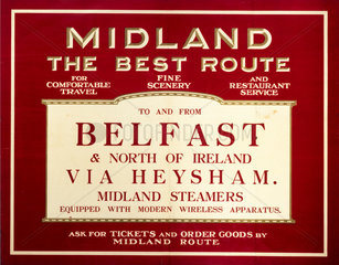 The Best Route To and From Belfast'  Midland Railway poster  c 1920s.