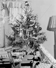 Christmas tree and presents  c 1949.