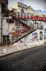 Tivoli steps and graffiti  Lisbon  Portugal  2005.