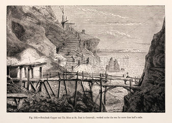 'Botallack Copper and Tin Mine at St Just in Cornwall'  1869.