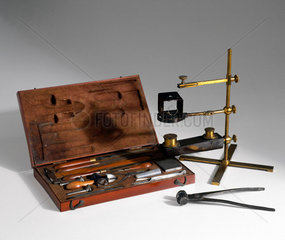 Metallurgical analysis equipment  19th century.