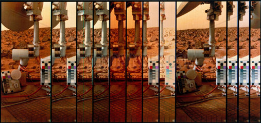Multiple image of the Martian surface and Viking Lander  1976.