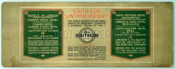 'South for Sunshine Holidays'  1920s.