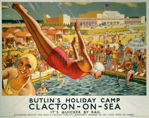 'Butlin's Holiday Camp  Clacton-on-Sea'  LNER poster  1940.