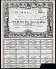 Paris-New York Telegraph Share Certificate  27 March 1879.