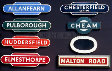 A selection of enamel station signs  early 20th century.