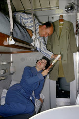 Husband and wife in sleeper carriage  1962.