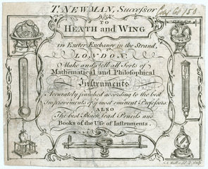 Trade card for mathematical instrument makers  18th century.