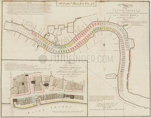 Edward Ogle's plan of the River Thames from London Bridge to Deptford  1795.
