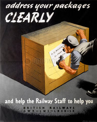 'Address Your Packages Clearly'  GWR/LMS/LNER/SR poster  1940s.