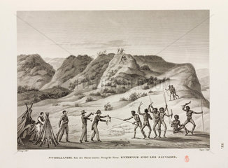 Meeting between Frenchmen and aboriginals  New Holland  1817-1820.